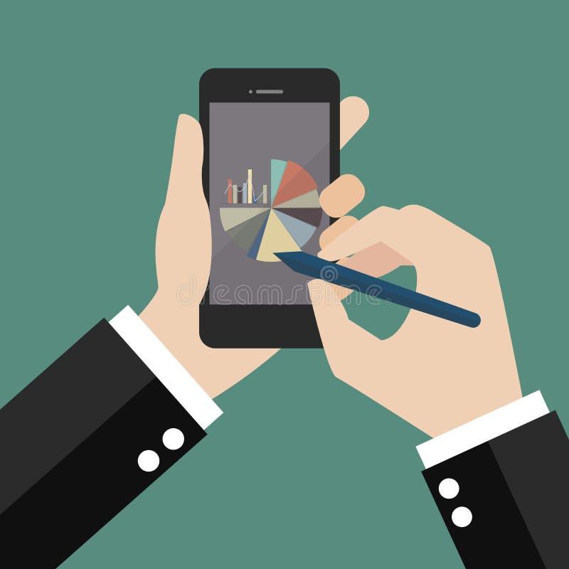 Handschrift auf Smartphone mit Kreisdiagramm und Balkendiagramm stock abbildung