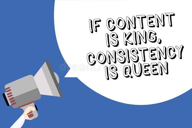 Handschrift de tekst die als de Inhoud Koning schrijven is, Consistentie is Koningin Concept die Op de markt brengend de Mensenho stock illustratie