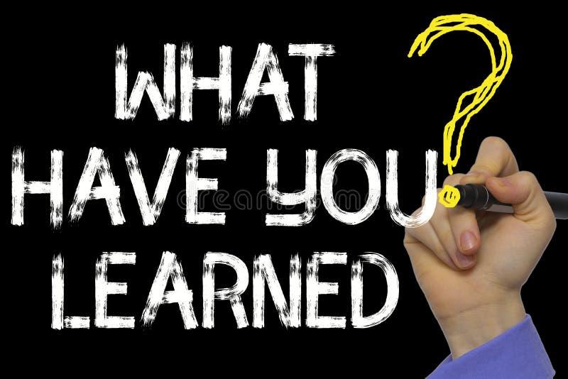 Handschrift der Text: Was Sie gelernt haben stockfotos