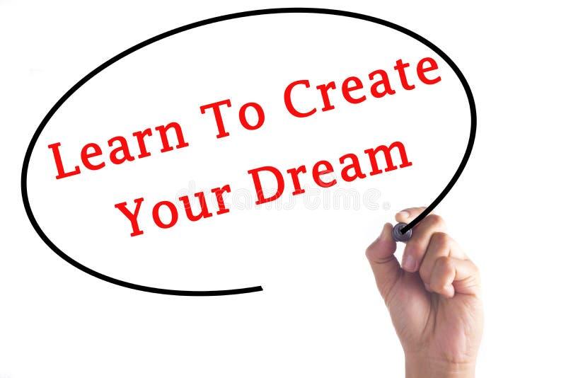 Handschrift lernen, Ihren Traum auf transparentem Brett zu schaffen stockfoto