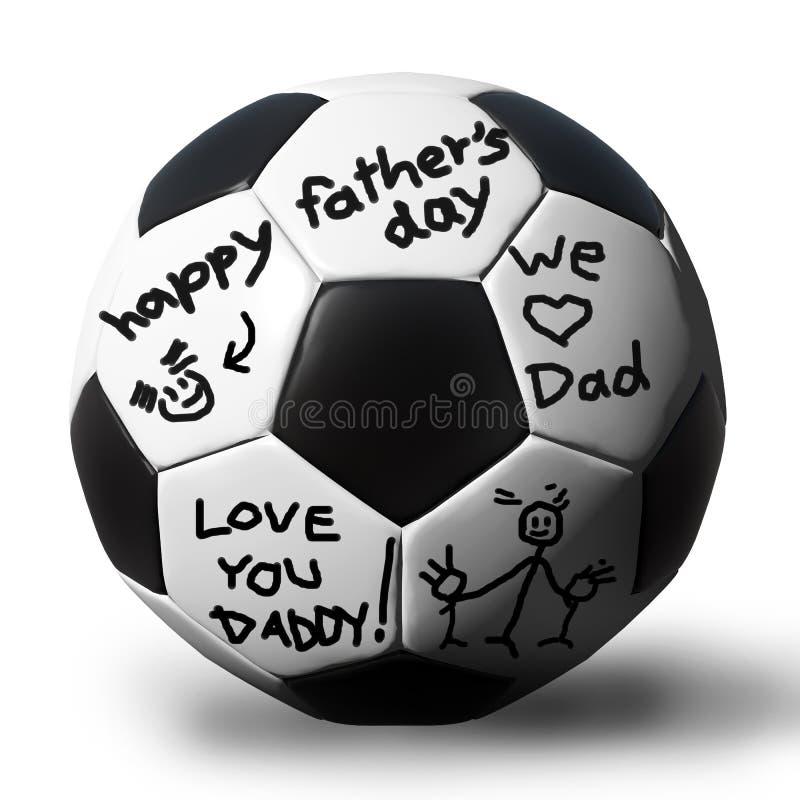 Handschrift op een soccerball voor uw vader royalty-vrije illustratie