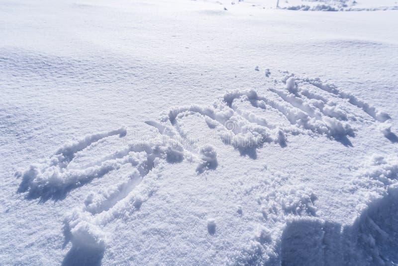 Handschrift van Sneeuwtekst stock afbeelding