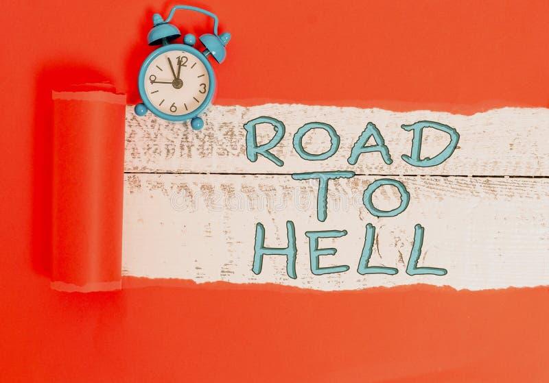 Handschrift von Text schreiben Weg bis zur Hölle Konzept bedeutet extrem gefährliche Passage Dark Ri Unsafe-Wecker stockfoto