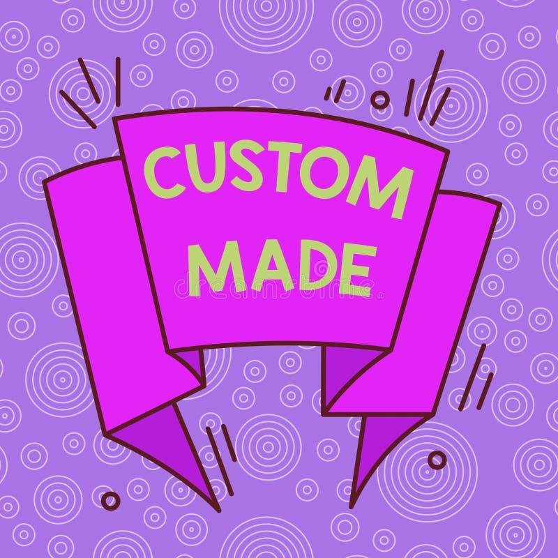 Handschriftekst Aangepast gemaakt Concept betekent dat het gemaakt wordt volgens iemands s is speciale vereisten Asymmetrisch stock illustratie