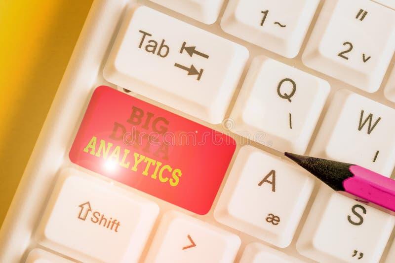 Handschriftentexte, die Big Data Analytics schreiben Konzept Bedeutung Der Prozess der Prüfung großer und unterschiedlicher Daten stockbilder