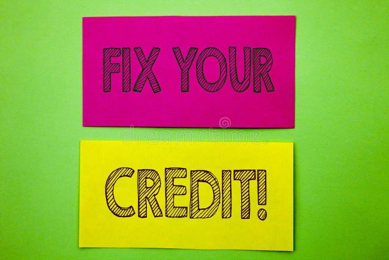 Handschrifts-Mitteilungstext-Vertretung Verlegenheit Ihr Kredit Begriffsfoto schlechtes Ergebnis, das Avice Fix Improvement Repai lizenzfreie abbildung