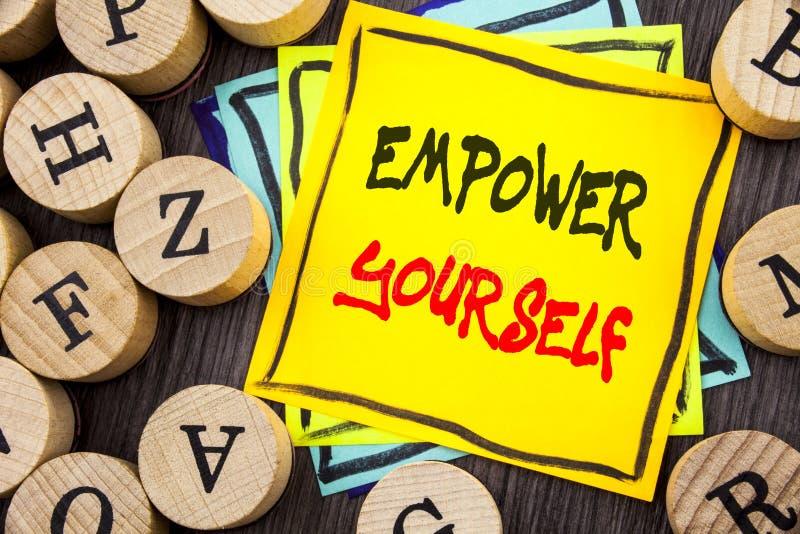 Handschrifts-Mitteilungstextvertretung bevollmächtigen sich Geschäftsfoto, das positiven Motivations-Rat für persönliches Develop vektor abbildung