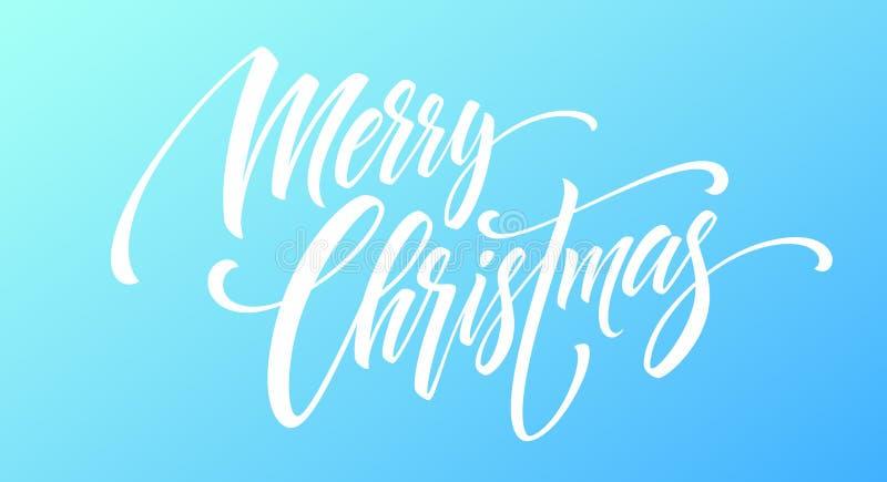 Handschriftsskriptbeschriftung der frohen Weihnachten auf einem hellen farbigen Hintergrund Auch im corel abgehobenen Betrag lizenzfreie abbildung