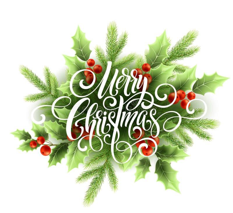 Handschriftsskriptbeschriftung der frohen Weihnachten Weihnachtsgruß-Karte mit Stechpalme Auch im corel abgehobenen Betrag vektor abbildung