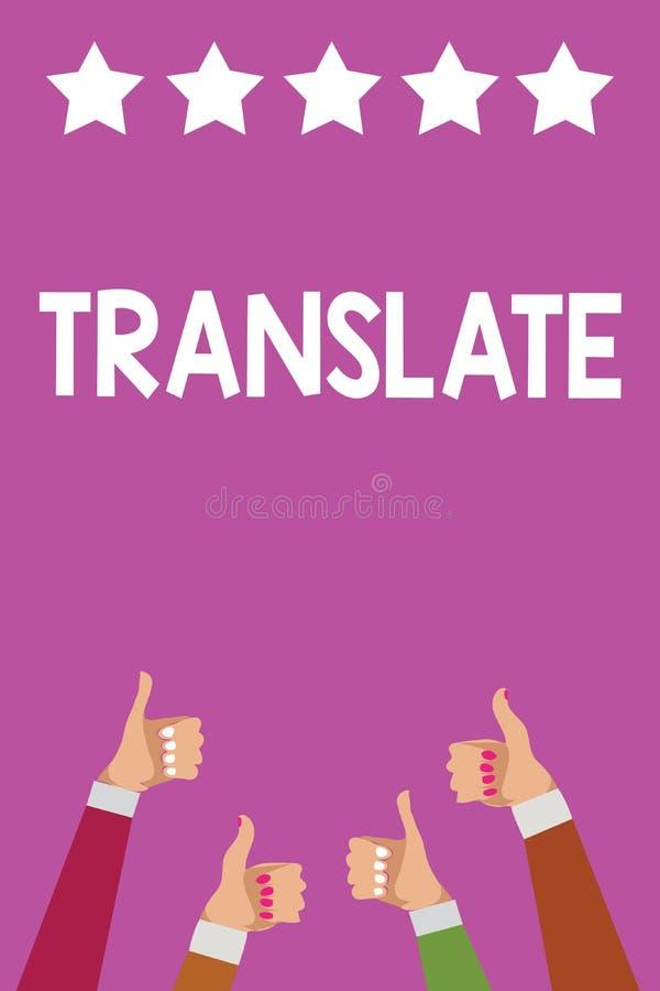 Handschriftstext übersetzen Das Konzept, das ein anderes Wort mit der gleichen gleichwertigen Bedeutung von eine Zielsprache Mann vektor abbildung