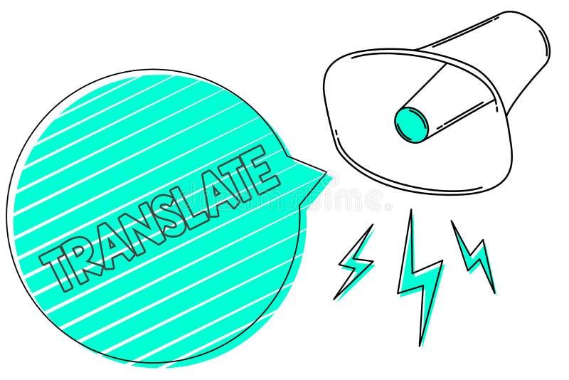Handschriftstext übersetzen Konzept, das ein anderes Wort mit der gleichen gleichwertigen Bedeutung eines Zielsprache Megaphonlau lizenzfreie abbildung