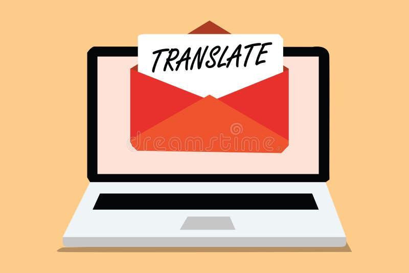 Handschriftstext übersetzen Konzept, das ein anderes Wort mit der gleichen gleichwertigen Bedeutung eines Zielsprache Computers e stock abbildung