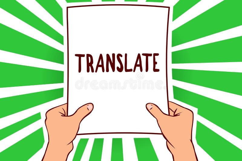 Handschriftstext übersetzen Konzept, das ein anderes Wort mit der gleichen gleichwertigen Bedeutung eines Zielsprache Mannes hält lizenzfreie abbildung
