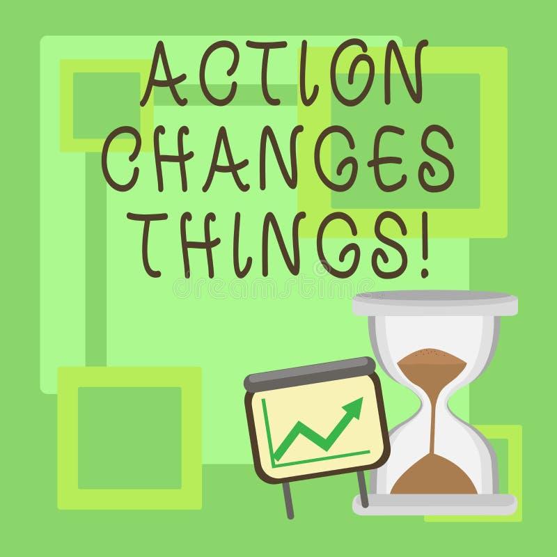 Handschriftstext Aktion ändert Sachen Die Konzeptbedeutung, die etwas tut, ist wie Kette verbessern sich reflektiert lizenzfreie abbildung