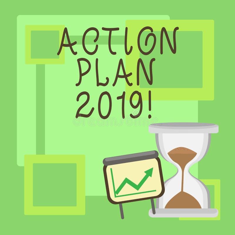 Handschriftstext Aktionsplan 2019 Konzeptbedeutung, zum der Liste in Entschließungsziele Zielen des neuen Jahres des neuen Jahres lizenzfreie abbildung