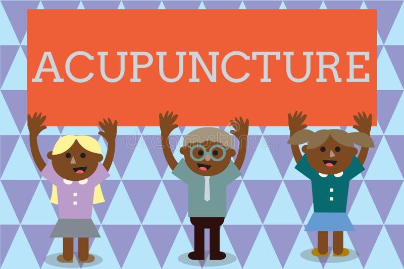 Handschriftstext Akupunktur Konzept, das alternative Therapie Behandlung für die Schmerz und Krankheit unter Verwendung der Nadel lizenzfreie abbildung