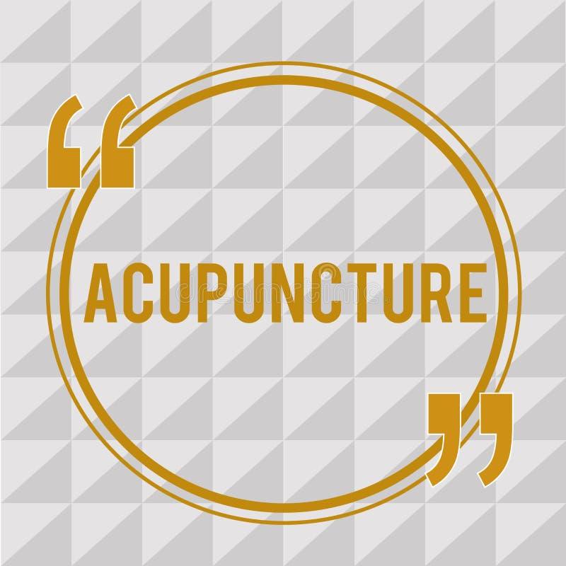 Handschriftstext Akupunktur Konzept, das alternative Therapie Behandlung für die Schmerz und Krankheit unter Verwendung der Nadel vektor abbildung