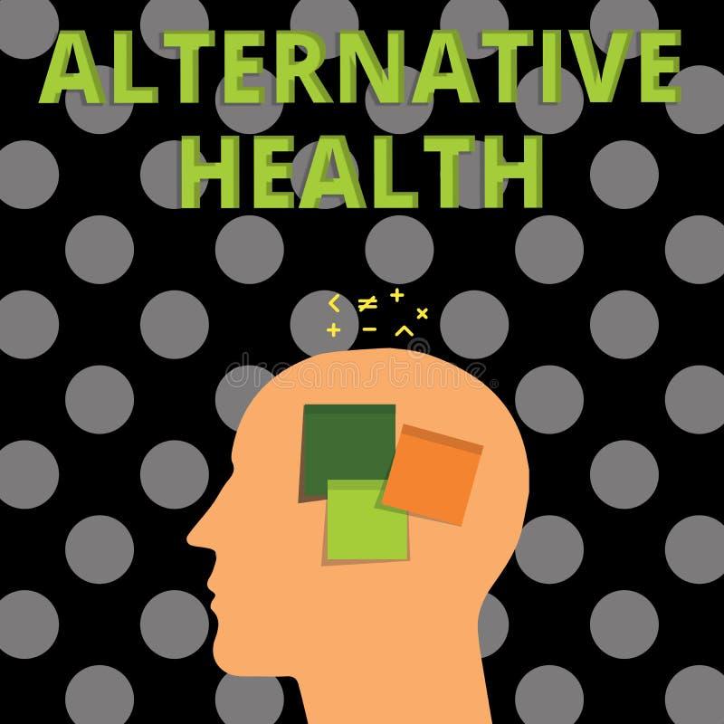 Handschriftstext alternative Gesundheit Konzept, das Arztpraxen bedeutet, die nicht Teil Standardsorgfalt sind stock abbildung