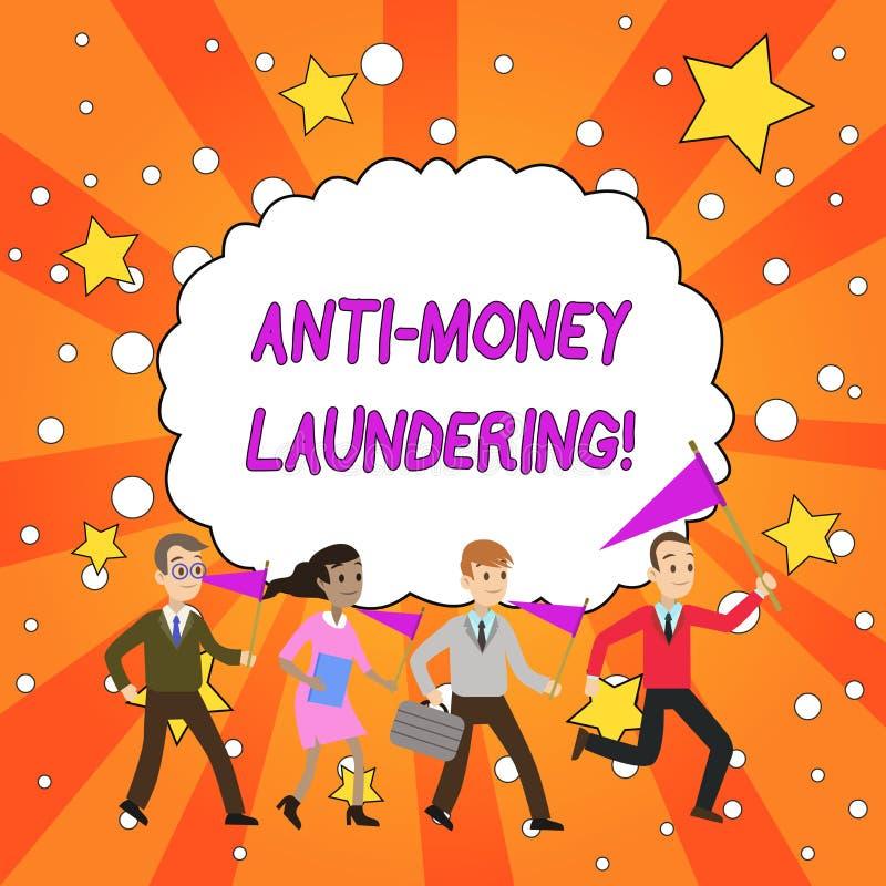 Handschriftstext Antigeldw?sche Das Konzept, das Regelungen bedeutet, h?ren auf, Einkommen durch rechtswidrige Verhalten zu erzeu stock abbildung