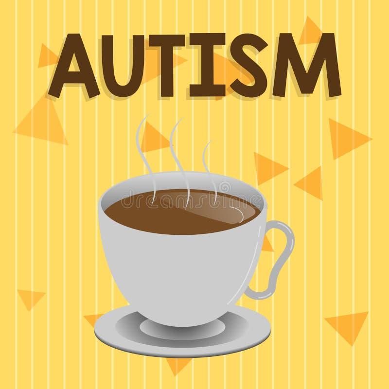 Handschriftstext Autismus Konzeptbedeutung Schwierigkeit in dem Einwirken und Angelegenheiten auf andere Vertretung bildend lizenzfreie abbildung