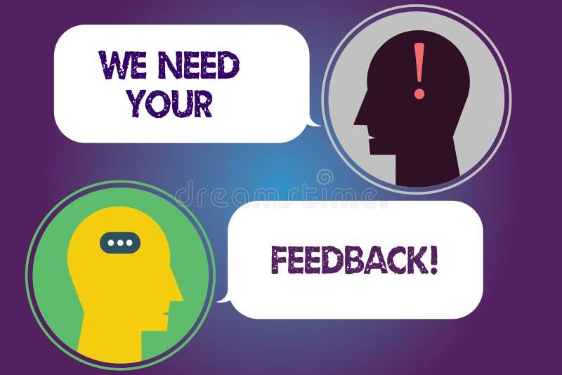 Handschriftstext benötigen wir Ihr Feedback Konzeptbedeutung geben uns Ihre Berichtgedanken Kommentare was, Boten zu verbessern lizenzfreie abbildung