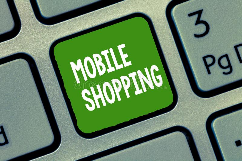 Handschriftstext bewegliches Einkaufen Konzeptbedeutung Kaufen und Verkauf von Waren und von Dienstleistungen durch Mobile stock abbildung