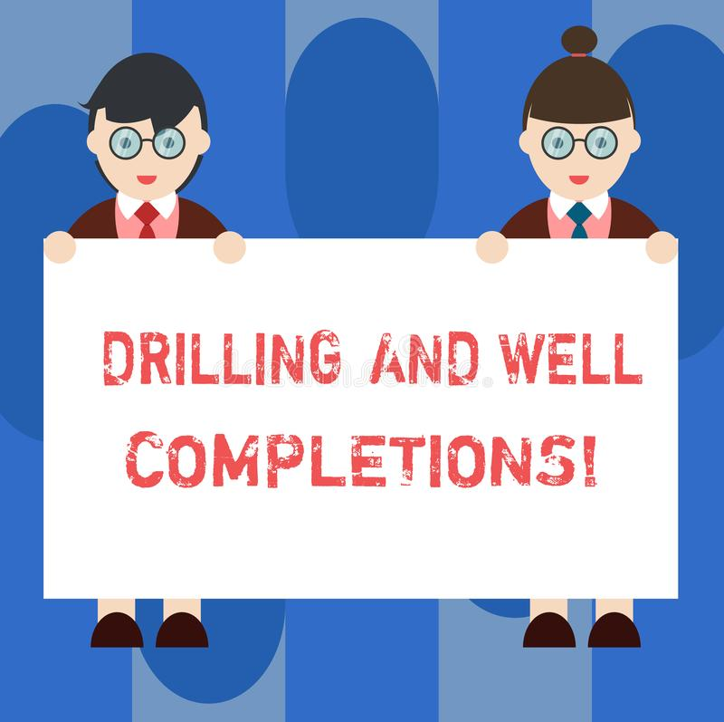 Handschriftstext Bohrung und wohle Fertigstellungen Konzept, das Öl- und Gasmineralölindustrietechnik Mann bedeutet und lizenzfreie abbildung