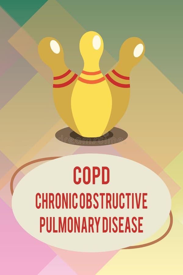 Handschriftstext Copd-chronisch obstruktive Lungenerkrankung Konzeptbedeutung Lungenerkrankung Schwierigkeit zum Atem lizenzfreie abbildung