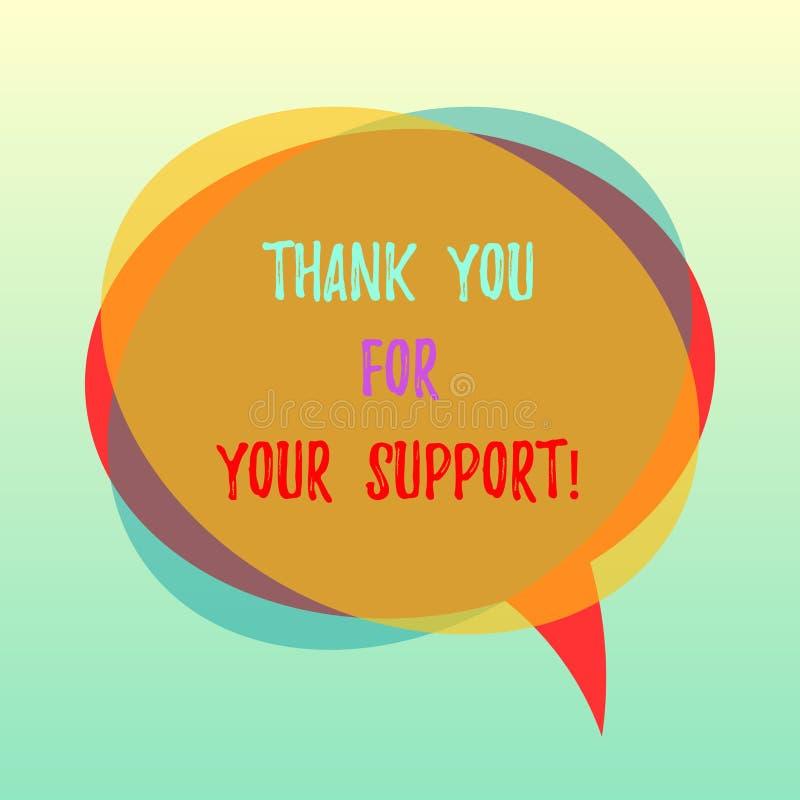 Handschriftstext danken Ihnen für Ihre Unterstützung E lizenzfreie abbildung