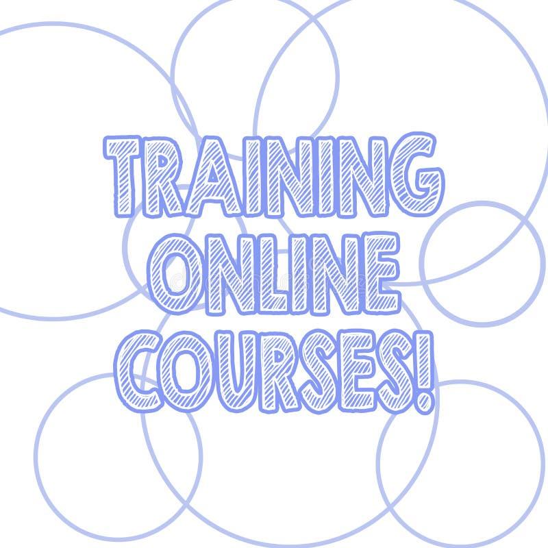 Handschriftstext, der ausbildende on-line-Kurse schreibt Die Konzeptbedeutung liefern eine Reihe Lektionen an ein web browser Ent stock abbildung