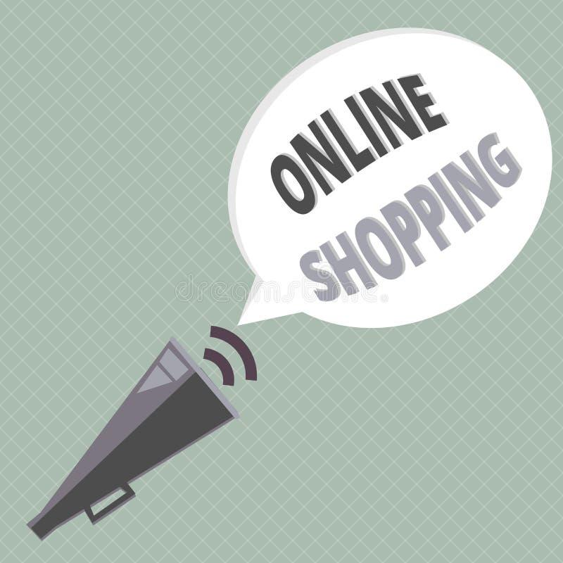 Handschriftstext, der das on-line-Einkaufen schreibt Konzeptbedeutung erlaubt Verbrauchern, ihre Waren über dem Internet zu kaufe vektor abbildung