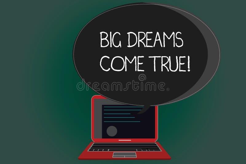 Handschriftstext, der die großen Träume in Erfüllung gegangen schreibt Große Wünsche der Konzeptbedeutung können Wirklichkeit wer lizenzfreie abbildung