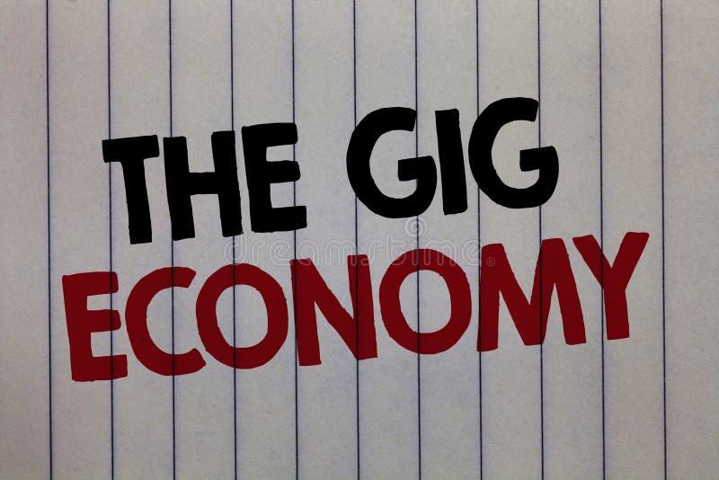 Handschriftstext, der die Konzert-Wirtschaft schreibt Konzeptbedeutung Markt vorübergehender weißer Vertikale p der kurzfristigen stockfoto