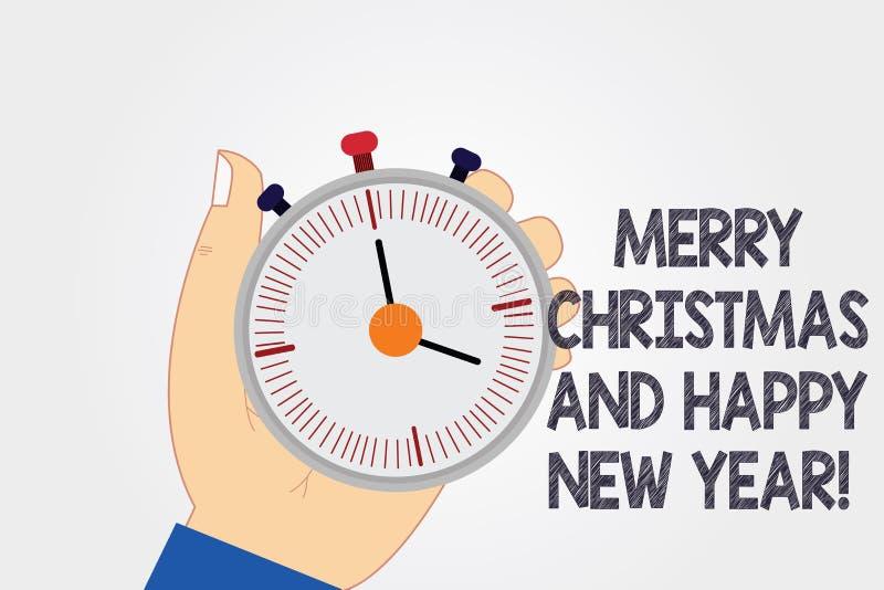 Handschriftstext, der frohe Weihnachten und guten Rutsch ins Neue Jahr schreibt Konzeptbedeutung Ferienzeit-Grußfeiern HU-Analyse lizenzfreie abbildung