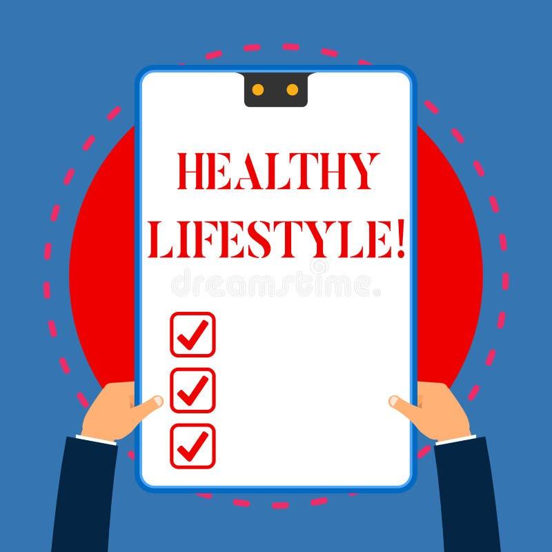 Handschriftstext, der gesunden Lebensstil schreibt Konzeptbedeutungsweise des Lebens das senkt das Risiko des Seins ernsthaft kra lizenzfreie abbildung