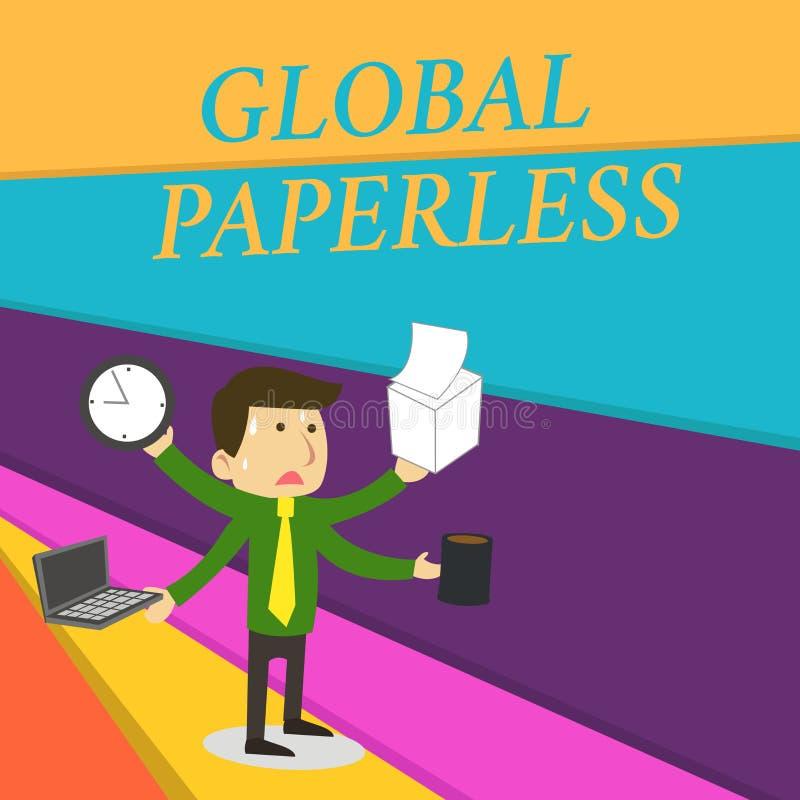 Handschriftstext, der globales ohne Papier schreibt Konzeptbedeutung, die Technologiemethoden wie E-Mail anstelle des Papiers ans vektor abbildung