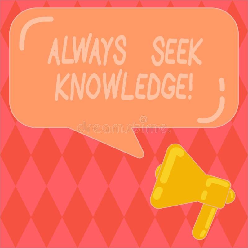 Handschriftstext, der immer Suchvorgang-Wissen schreibt Starke Richtung Konzeptbedeutung Autodidact des ausgesuchten Wissens lizenzfreie abbildung