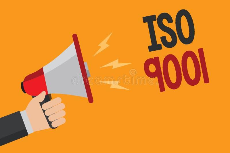 Handschriftstext, der ISO 9001 schreibt Entworfenen Organisationen des Konzeptes erfüllen die Bedeutung sicherzustellen Hilfsden  lizenzfreie abbildung