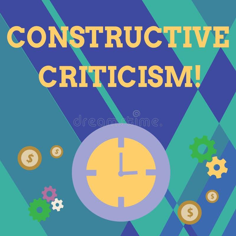 Handschriftstext, der konstruktive Kritik schreibt Konzeptbedeutungsprozeß des Äußerns von gültigen und gut begründeten Meinungen stock abbildung