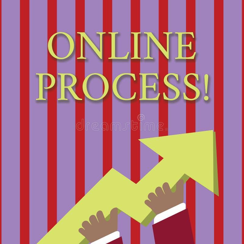 Handschriftstext, der on-line-Prozess schreibt Konzept, das eine automatisierte Weise bedeutet, Daten- oder Berichtsfoto von zu b stock abbildung