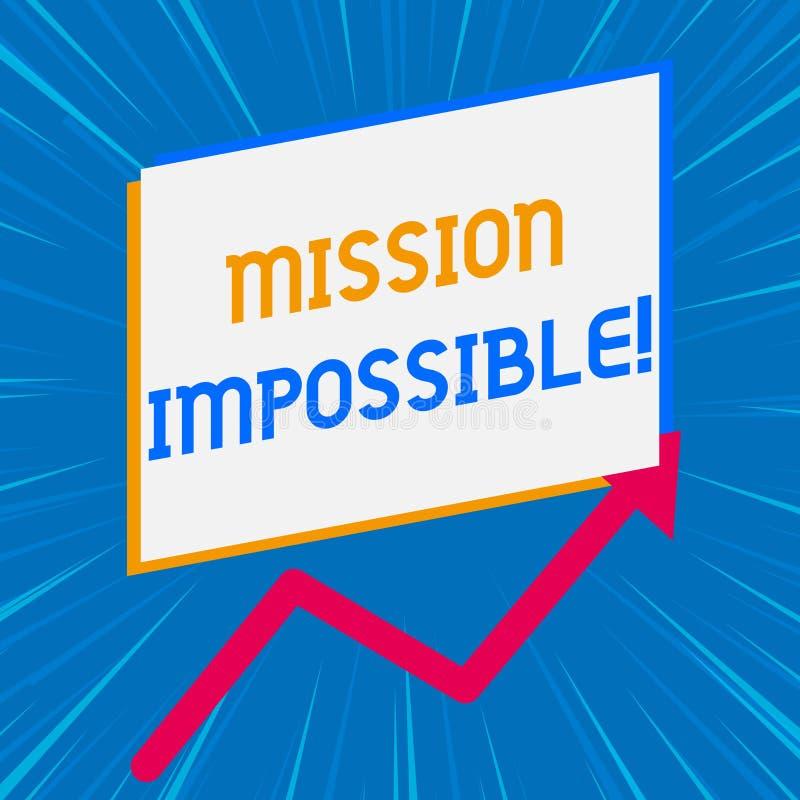 Handschriftstext, der Mission Impossible schreibt Konzeptbedeutung unvorstellbare Aufgabe schwierigen gefährlichen Auftrags stock abbildung
