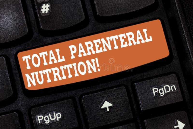 Handschriftstext, der parenterale totalnahrung schreibt Konzept, das eine spezifische Form der Nahrung durch eine Ader hineingieß stockfotos