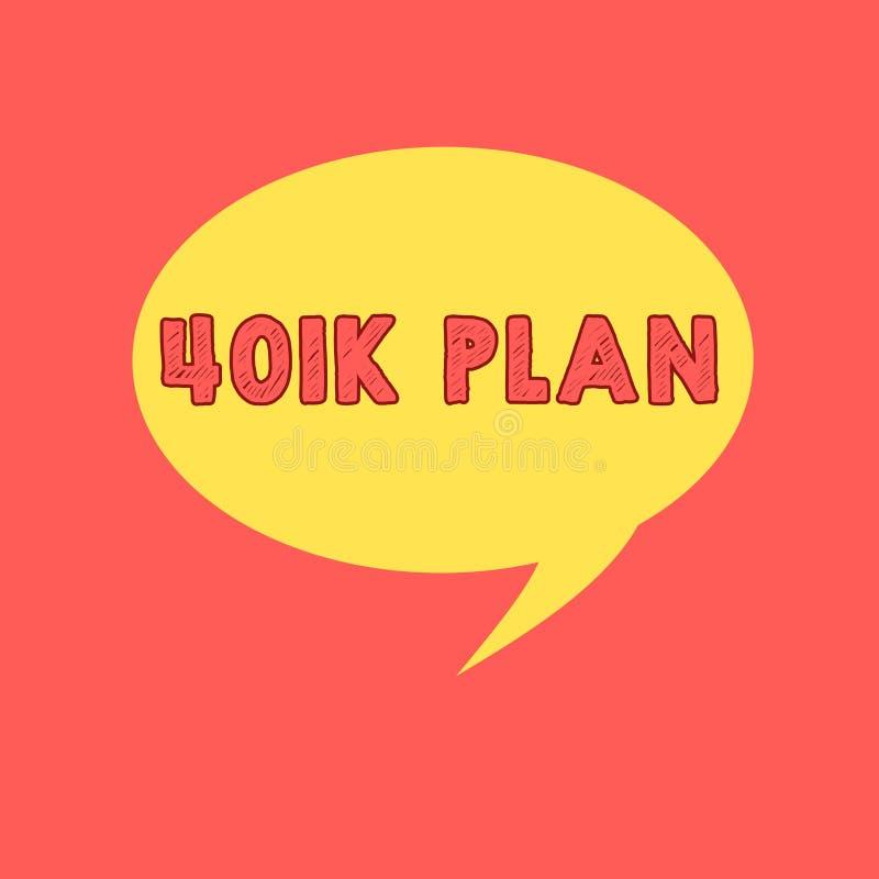 Handschriftstext, der Plan 401K schreibt Qualifizierter Arbeitgeber geförderter Ruhestandsplan des Konzeptes Bedeutung, den Anges lizenzfreie abbildung