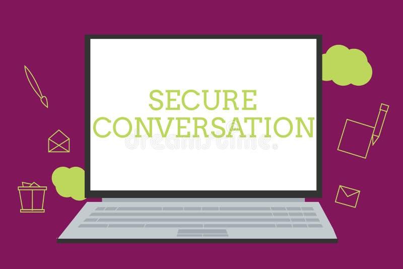 Handschriftstext, der sicheres Gespräch schreibt Konzept-Bedeutung gesicherte verschlüsselte Kommunikation zwischen Webservices stock abbildung
