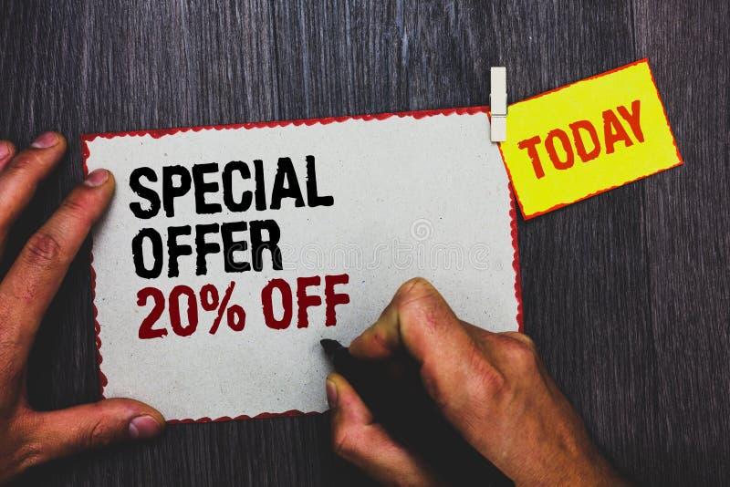 Handschriftstext, der Sonderangebot 20 abschreibt Konzeptbedeutung Rabatt-Förderung Verkäufe verkaufen Marketing-Angebot-Handgrif stockfotos
