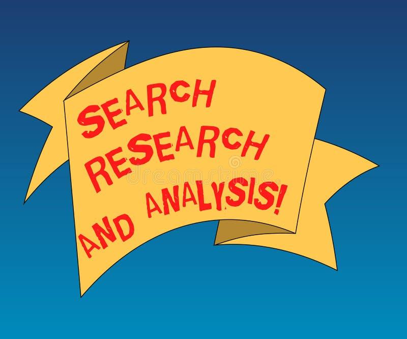 Handschriftstext, der Suchforschung und -analyse schreibt Das Konzept, das Untersuchungsdateninformationen Analytics bedeutet, fa lizenzfreie abbildung