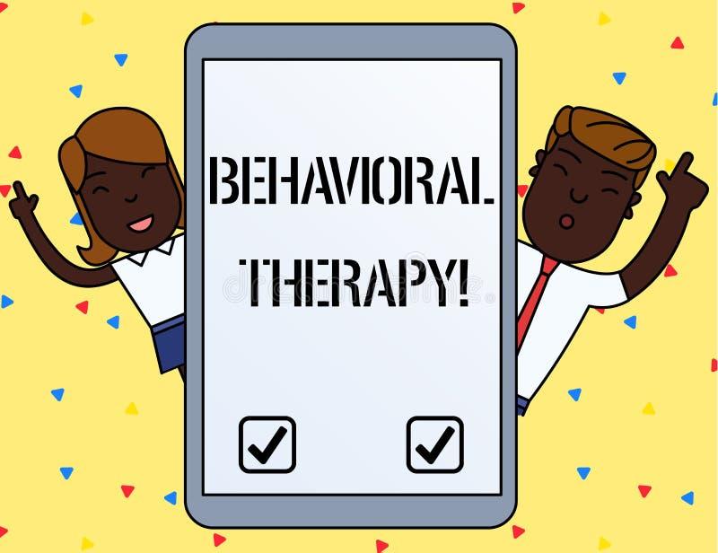 Handschriftstext, der Verhaltenstherapie schreibt Konzept, das Hilfe bedeutet, möglicherweise selfdestructive Verhalten Mann zu ä vektor abbildung