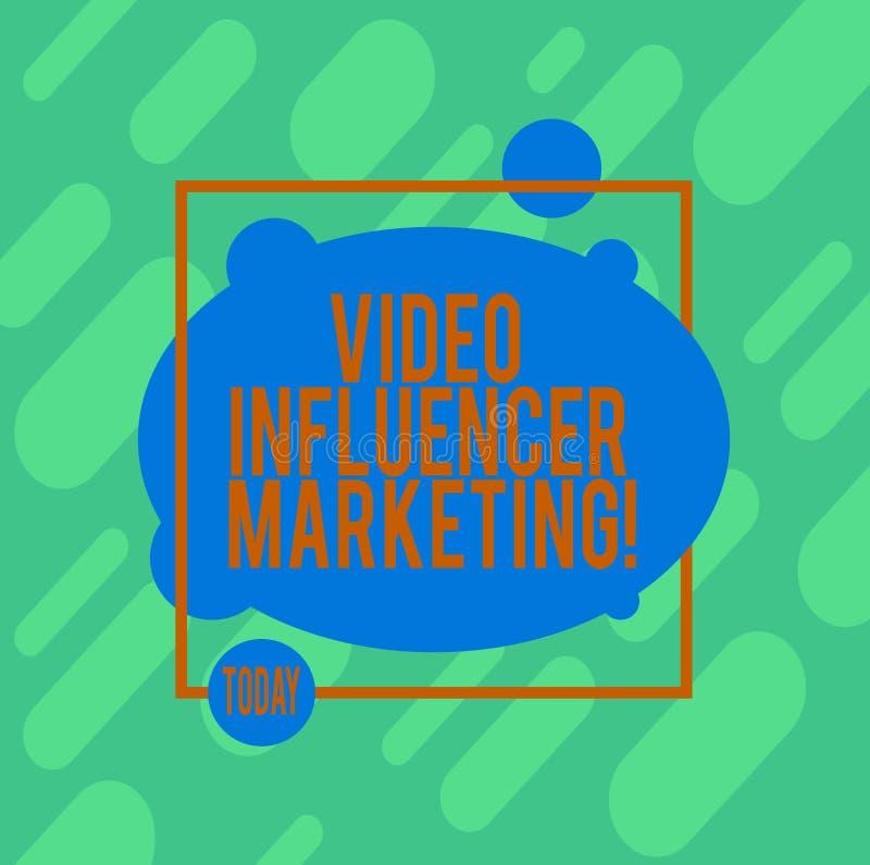 Handschriftstext, der Video-Influencer-Marketing schreibt Geförderter Inhalt des Konzeptes Bedeutung durch das influencer, zum vo vektor abbildung