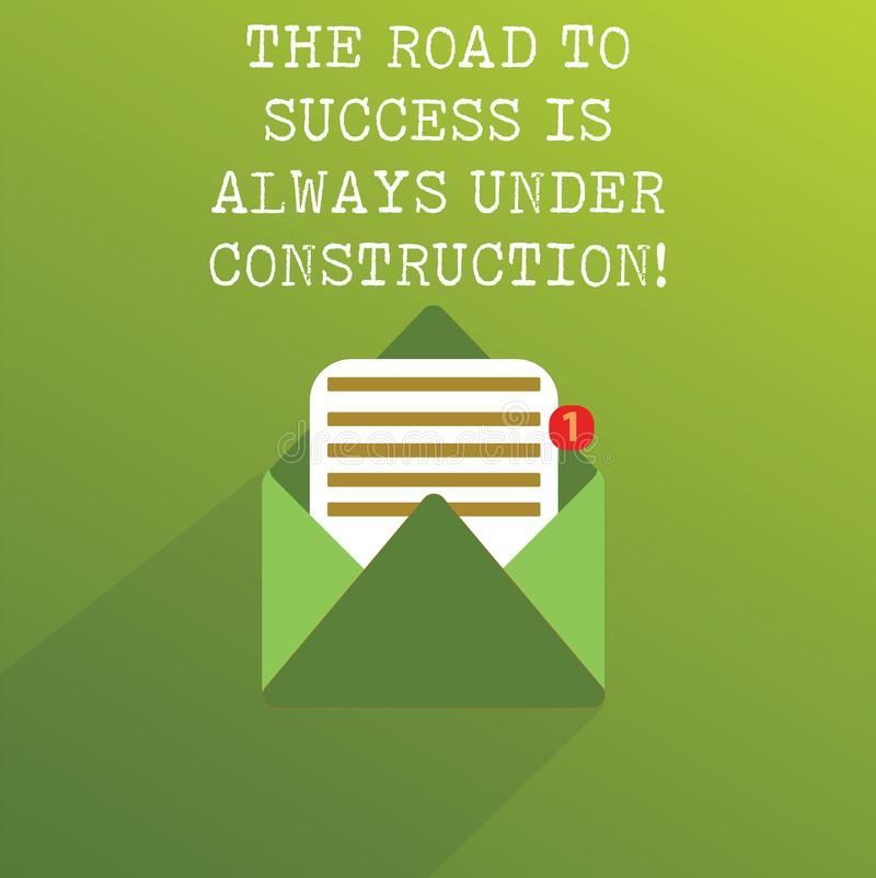 Handschriftstext die Straße zum Erfolg ist immer im Bau Konzeptbedeutung ununterbrochene Verbesserung im offenen Mitteilungs-Umsc stockbild