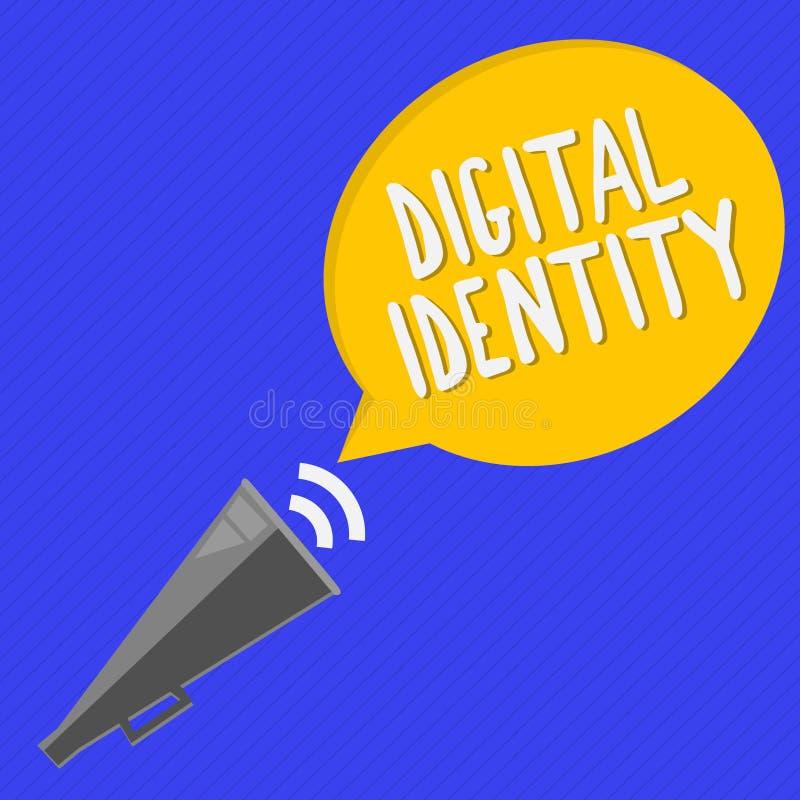 Handschriftstext Digital-Identität Konzeptbedeutungsinformationen über das Wesen benutzt durch Computer, um Mittel darzustellen stock abbildung